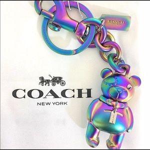 Coach multi-chrome Bear keychain